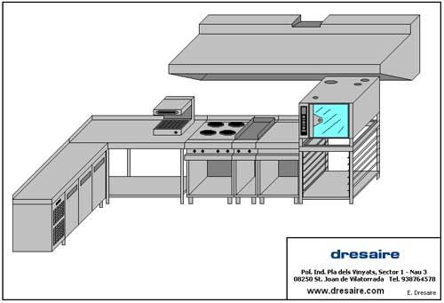 Desarrollo de proyectos a medida con mobiliario de acero for Plano de restaurante y cocina