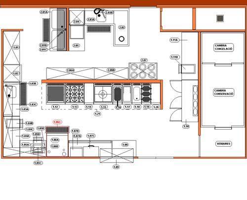 Tallerdehosteler ab sica cocinas instalaciones y planos for Planos de cocinas para restaurantes